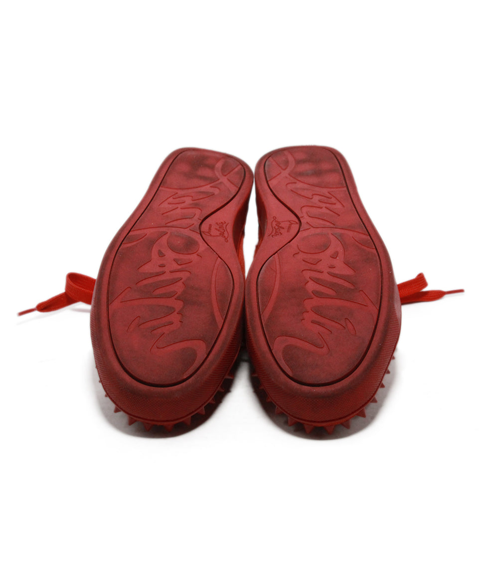 Christian Louboutin red suede studded trim sneakers 5