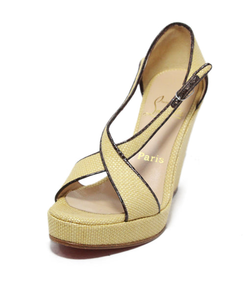 Christian Louboutin tan leather espadrille sandals 1