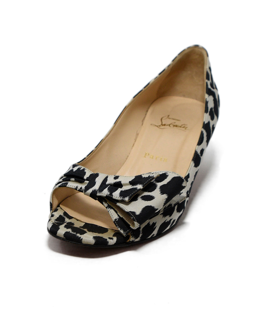 best cheap 945b0 129e8 Christian Louboutin White Black Animal Print Silk Heels, Sz. 39.5