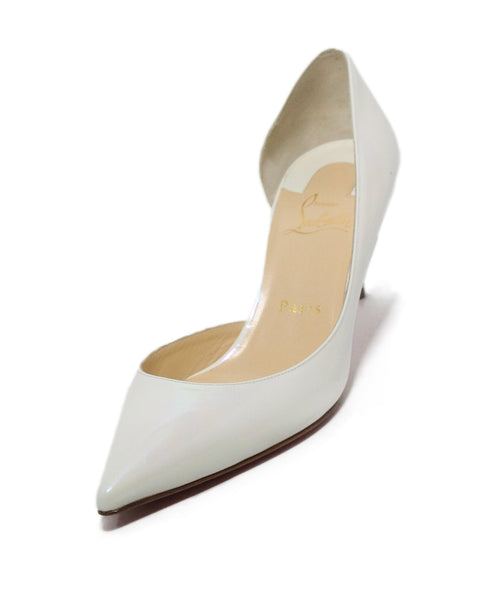 Christian Louboutin white iridescent patent leather heels 1