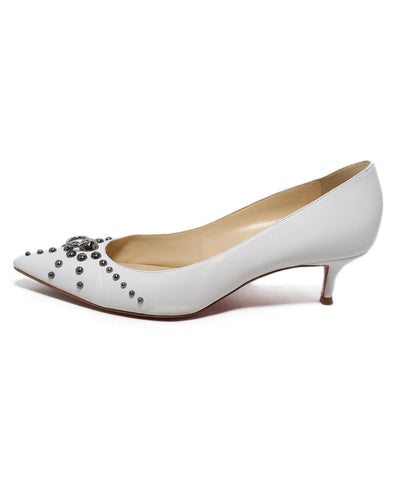 Christian Louboutin white leather studs heels 1
