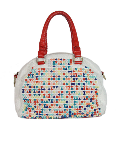 Christian Louboutin white multicolor studded satchel bag 1