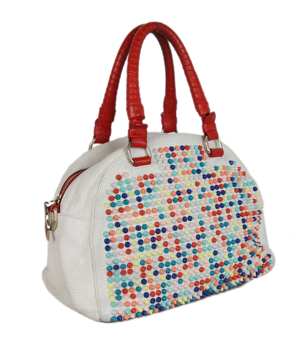 Christian Louboutin white multicolor studded satchel bag 2