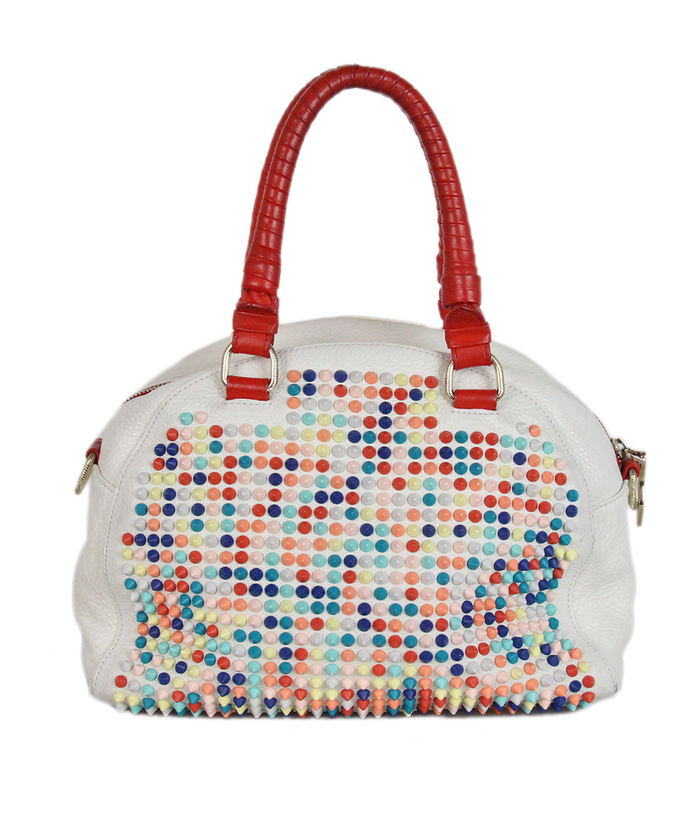Christian Louboutin white multicolor studded satchel bag 3