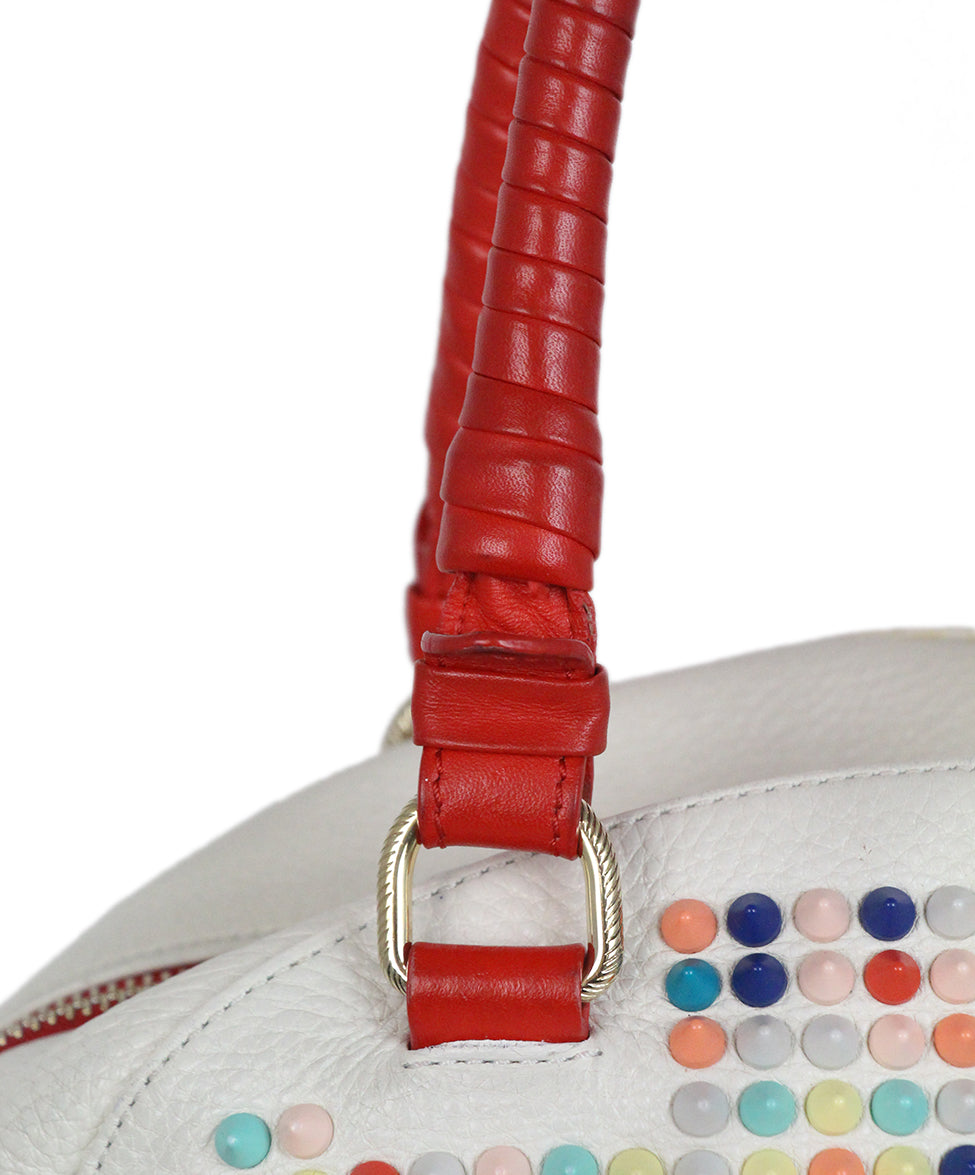 Christian Louboutin white multicolor studded satchel bag 9