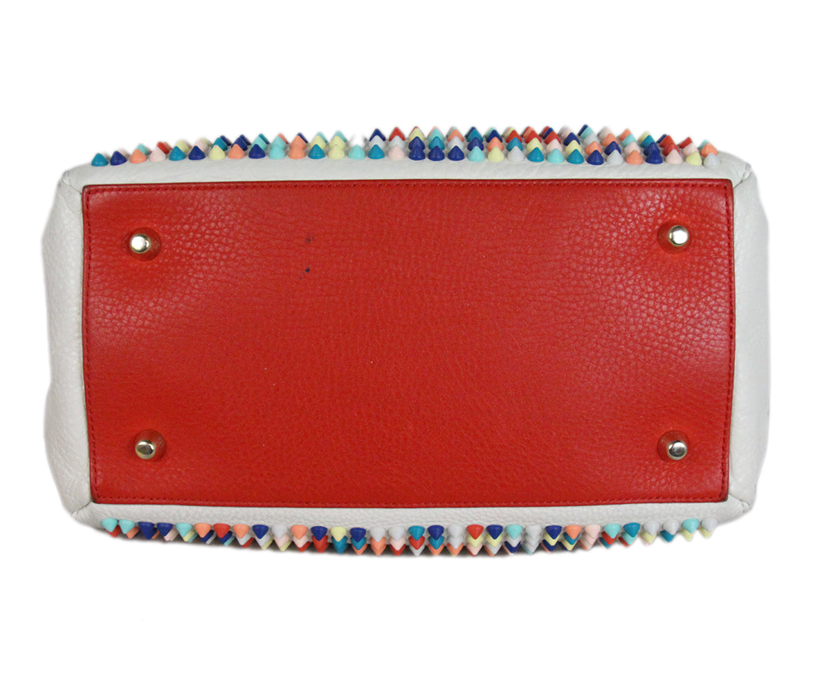 Christian Louboutin white multicolor studded satchel bag 4