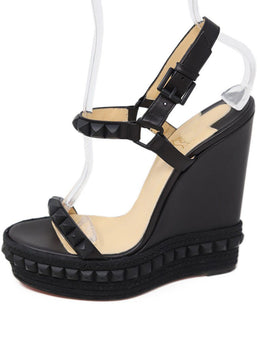 Christian Louboutin Black Leather Metal Gunmetal Wedges 1