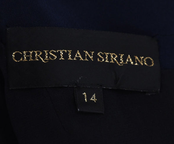 Christian Siriano Black Navy Dress Gown 4