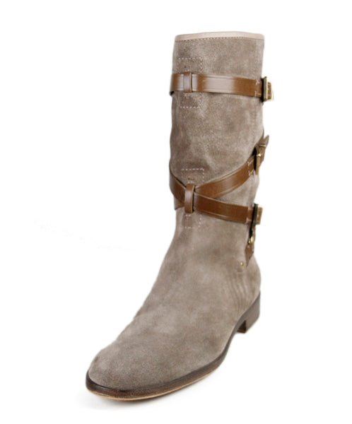 Christian Dior Neutral Taupe Suede Leather Boots Sz 37