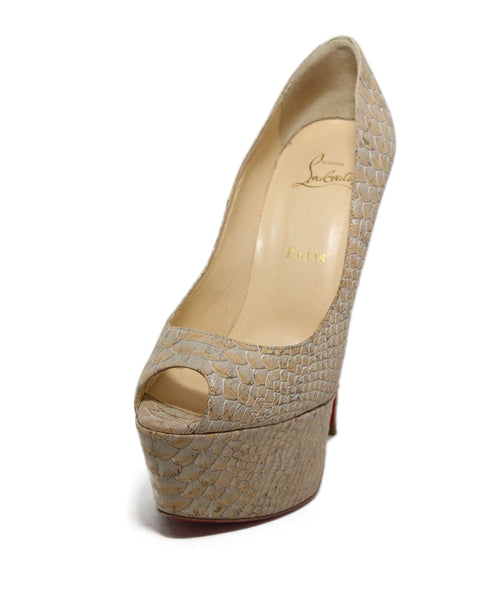 Christian louboutin Tan grey cork peep toe platforms 1