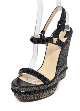 Christian Louboutin Black Leather Gold Lurex Platform Sandals