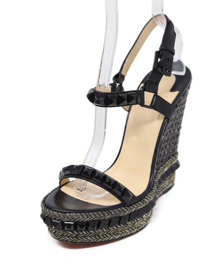 Christian Louboutin Black Suede Metal Studded Wedges Sz 38