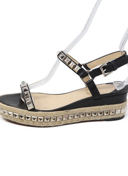 Sandals Christian Louboutin Shoe Size US 8 Black Leather Silver Studded Shoes