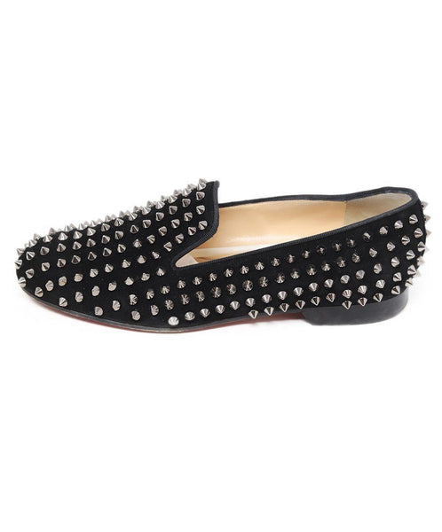 Loafers Christian Louboutin Shoe Size US 8 Black Suede Silver Spike Shoes