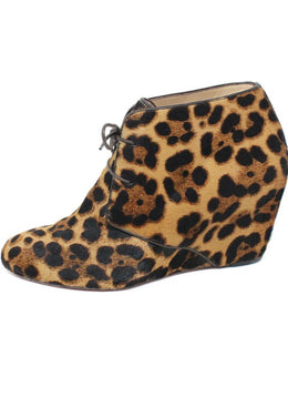 Christian Louboutin Black Tan Leopard Print Fur Shoes 1