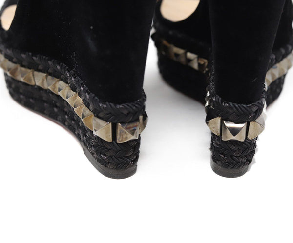 Christian Louboutin Black Velvet Metal Studded Sandals Sz 38