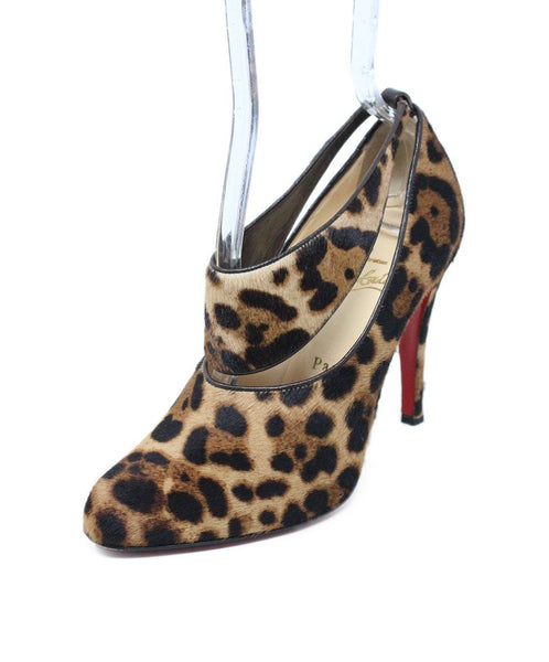 Christian Louboutin Brown Tan Leopard Print Fur Shoes