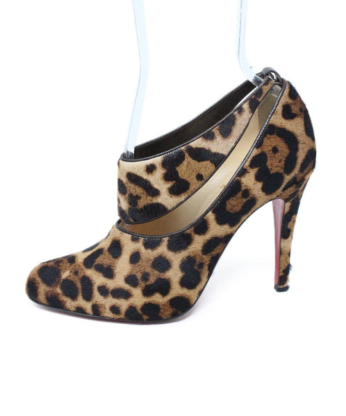 Christian Louboutin Brown Tan Leopard Print Fur Shoes 1