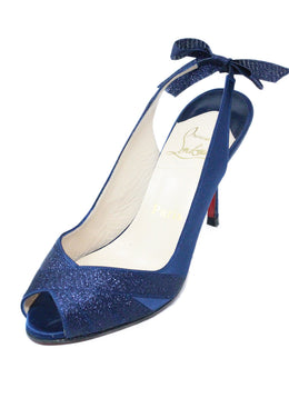 Christian Louboutin Dark Blue Satin Heels 1