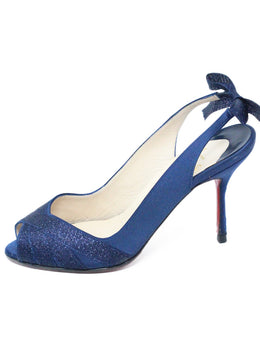 Christian Louboutin Dark Blue Satin Heels 2