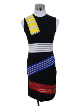 Christopher Kane Black Yellow White Blue Red Viscose Nylon Dress
