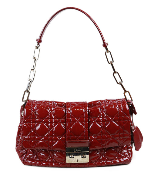 Christian Dior Burgundy Quilted Patent Leather Handbag