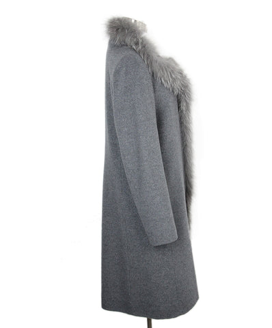 Cinzia Rocca Grey Wool Cashmere Fox trim Coat 1