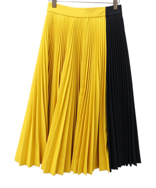 Calvin Klein Black and Yellow Pleated Long Skirt