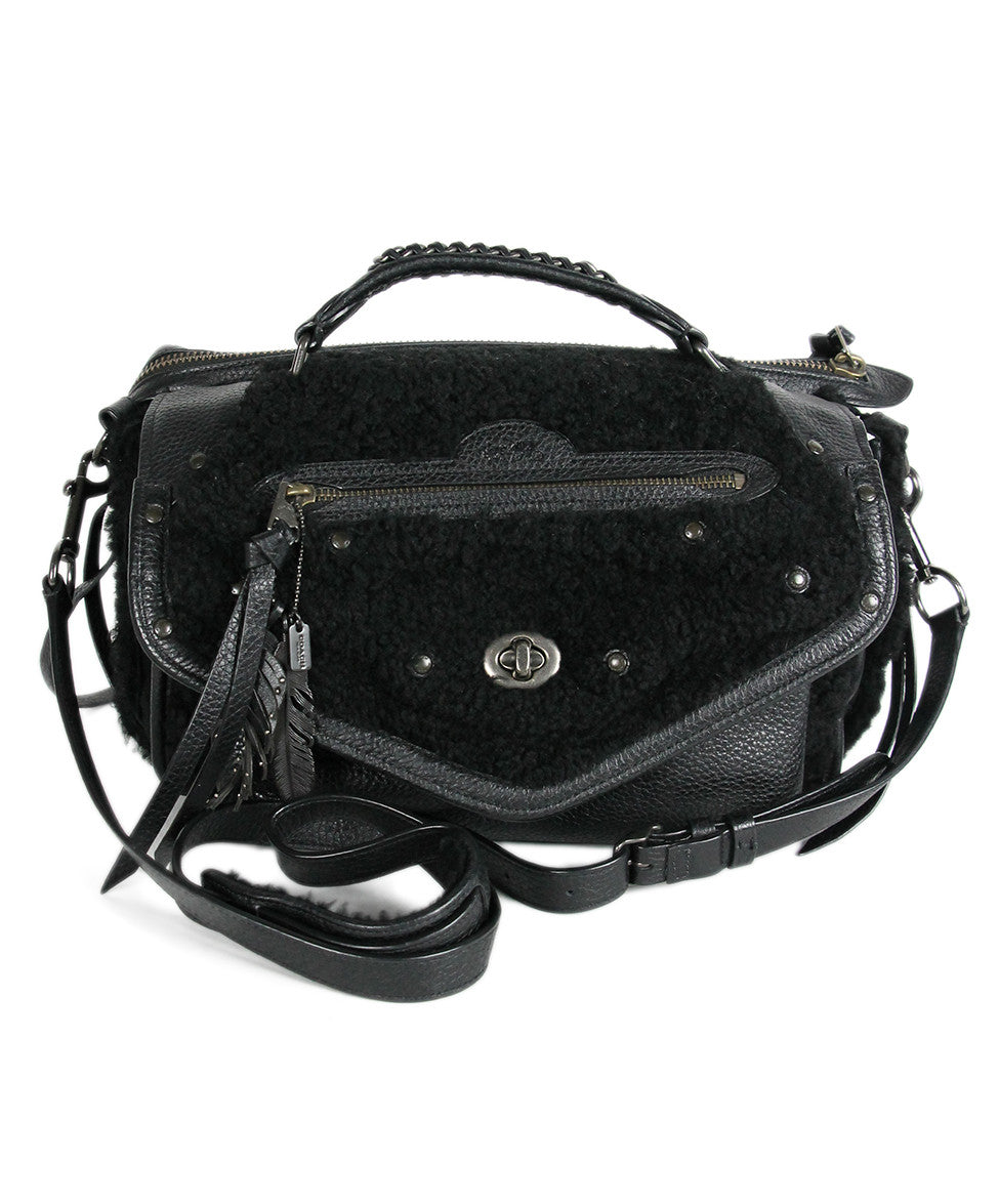 Coach Black Leather Shearling Bag - Michael's Consignment NYC  - 1