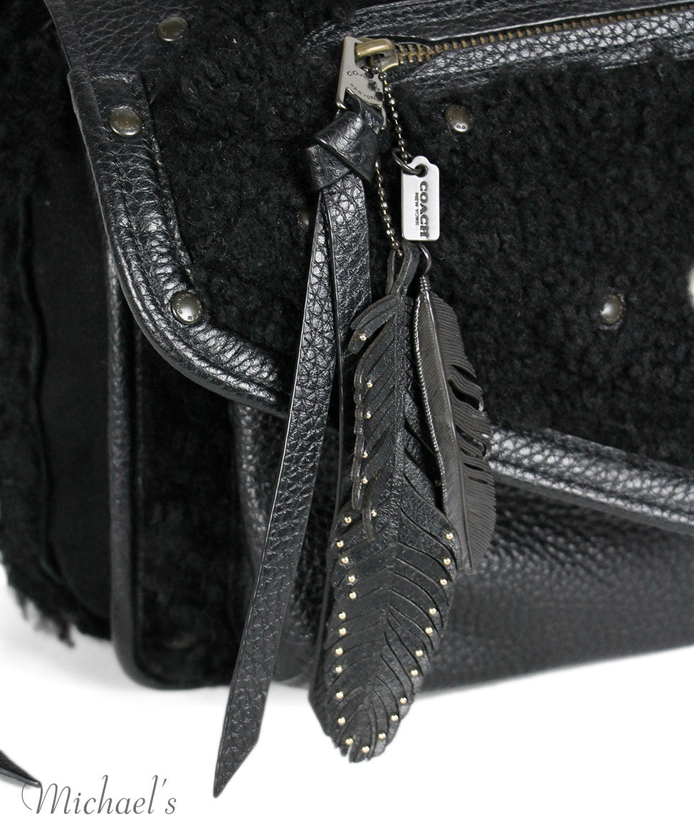 Coach Black Leather Shearling Bag - Michael's Consignment NYC  - 6