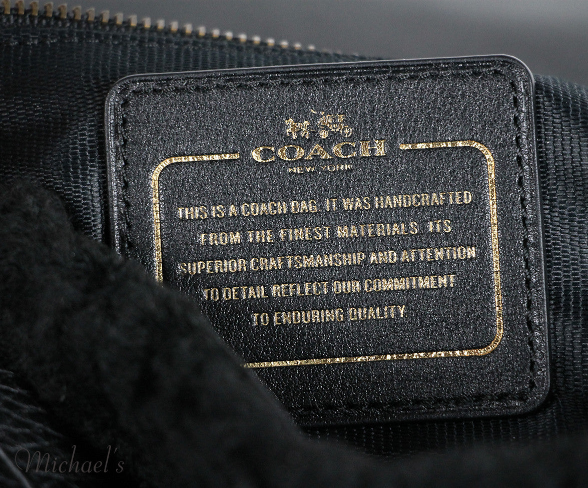 Coach Black Leather Shearling Bag