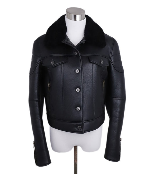Coach Black Leather Shearling Collar Coat 1