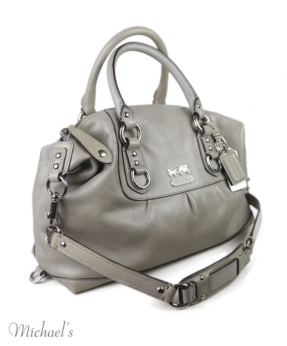 Coach Grey Leather W/Strap Handbag