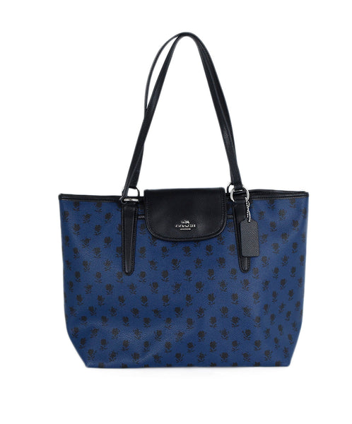 Coach Blue Black Leather Print Tote Handbag 1