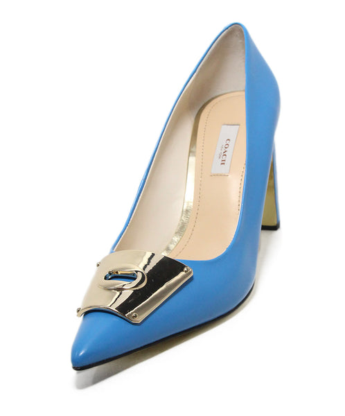Coach blue leather heels 1