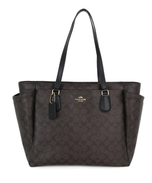 Coach brown monogram tote 1