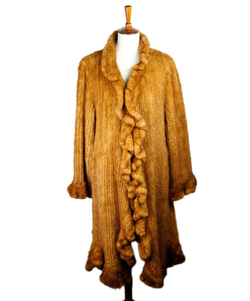 Brown Cognac Mink Fur Outerwear Sz 10