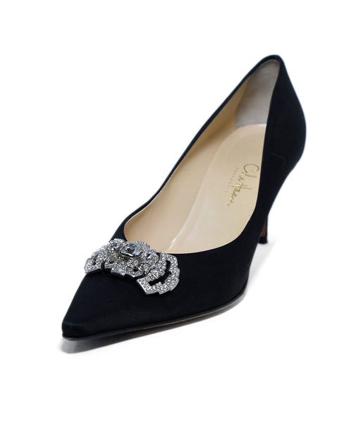 Cole Haan Black Satin Rhinestone Trim Heels 1