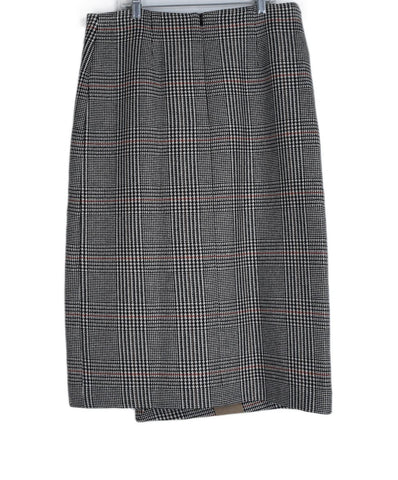 Coliac Long Black White Orange Plaid Polyester Wool Skirt 1