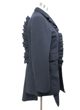 Comme Des Garcons Navy Coat with Ruffle Detail 2