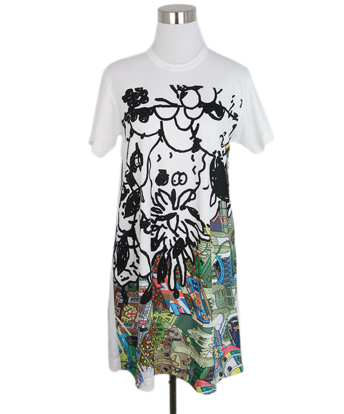 Comme Des Garcon white black multi print dress 1