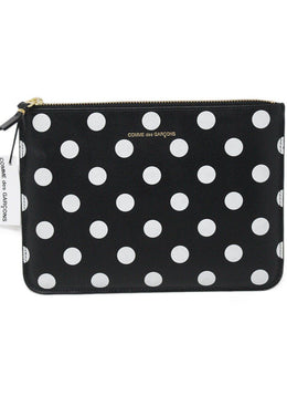 Comme Des Garcons Black White Polka Dots Leather W/Box Handbag