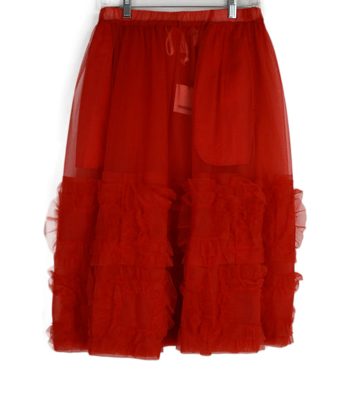 Comme Des Garcons Red Polyester Ruffle Skirt 1