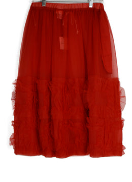 Comme Des Garcons Red Polyester Ruffle Skirt 2