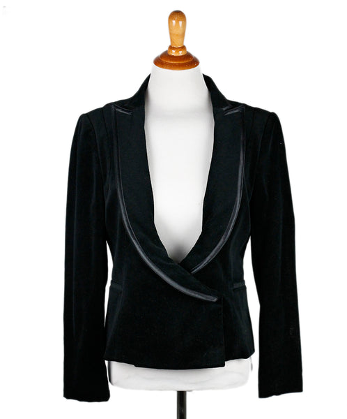 Costume National Black Velvet Satin Trim Jacket Sz 4