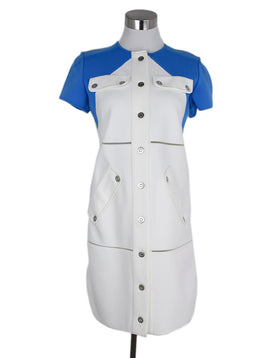 Courreges White Blue Polyamide Dress 1