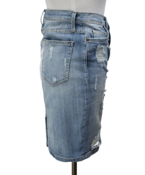 Current Elliott Blue Denim Distressed Skirt 2