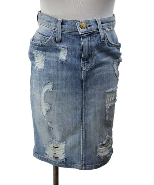 Current Elliott Blue Denim Distressed Skirt 1