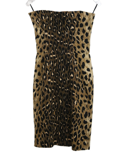 Dsquared2 Brown Black Animal Print Cotton Strapless Dress 1