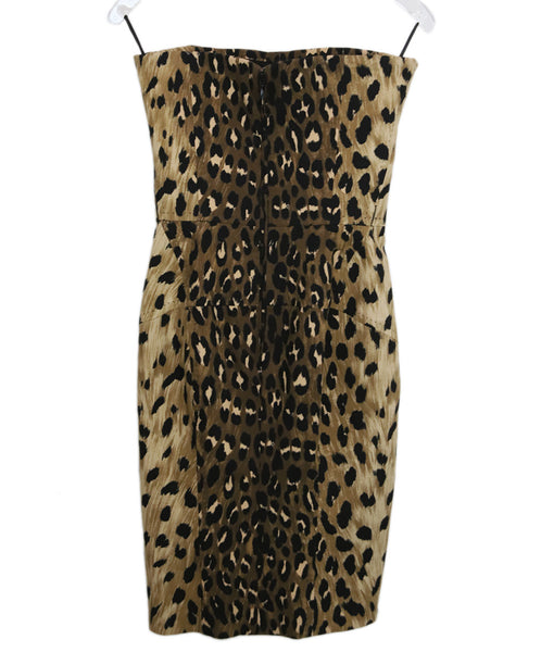 Dsquared2 Brown Black Animal Print Cotton Strapless Dress 2